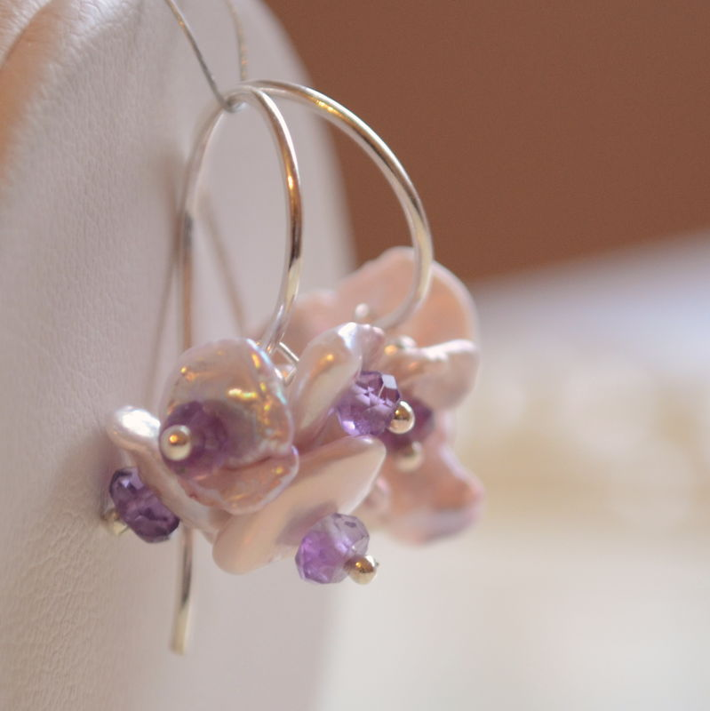 Lavender Keishi Pearl Earrings with Amethysts in Sterling Silver  - product images  of