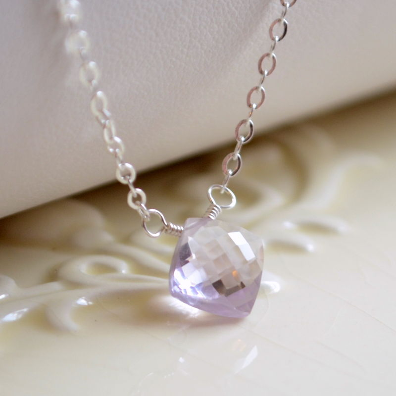 Simple Pink Amethyst Necklace in Sterling Silver  - product images  of