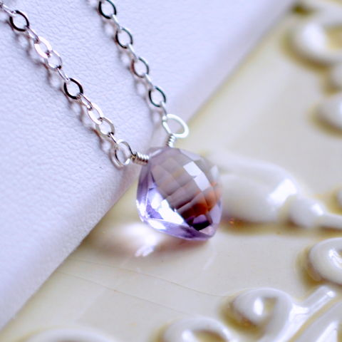 Simple,Pink,Amethyst,Necklace,in,Sterling,Silver,pink amethyst, sterling silver, necklace, gemstone, lavender, lilac, solitaire, pendant, simple, jewelry