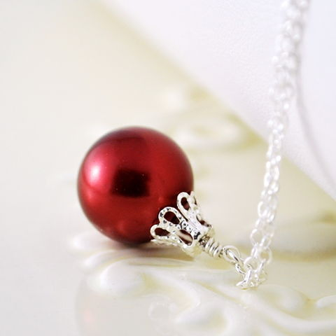 Red,Christmas,Ornament,Necklace,in,Sterling,Silver, holiday, necklace, glass pearl, red, festive, sterling silver, jewelry