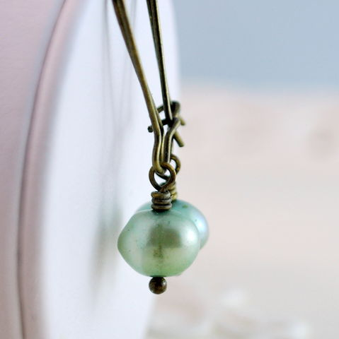 Mint,Green,Freshwater,Pearl,Earrings,in,Antiqued,Brass,mint green, freshwater pearl, earrings, antiqued brass, jewelry
