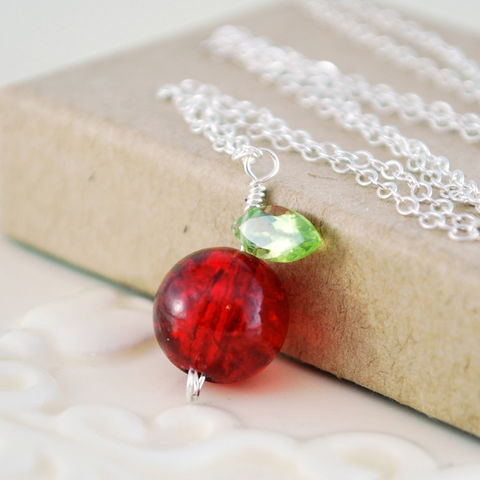 Glass,Apple,Necklace,with,Peridot,Leaf,in,Sterling,Silver,apple necklace, sterling silver, red, glass bead, genuine peridot, gemstone, teacher gift, jewelry