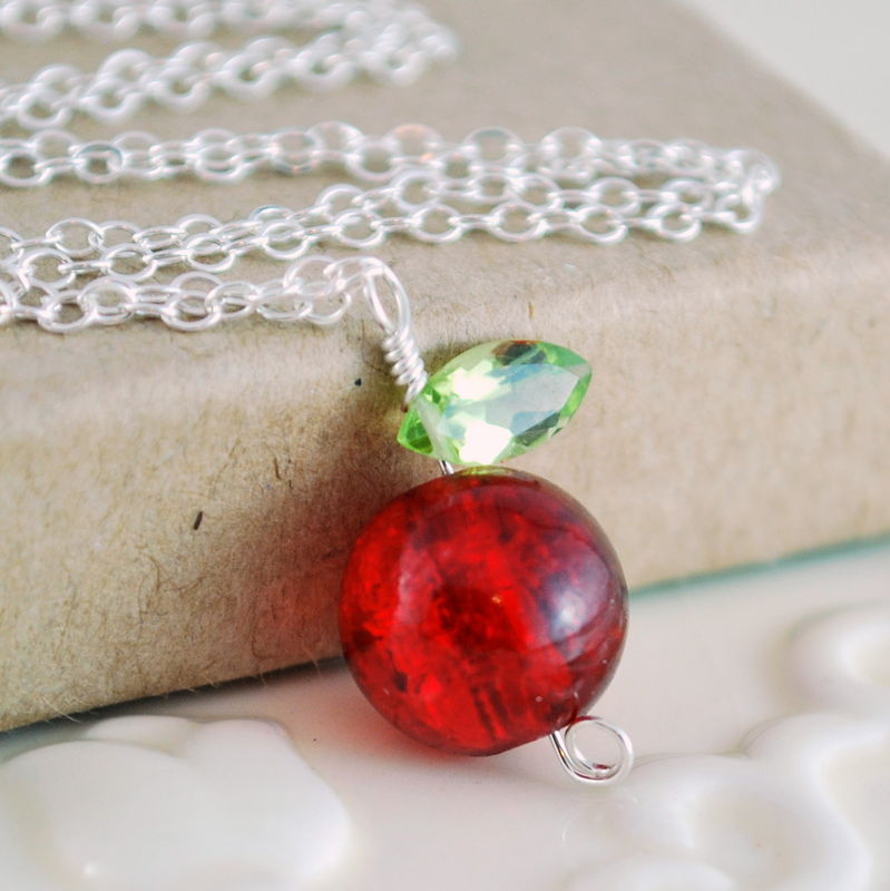 Glass Apple Necklace with Peridot Leaf in Sterling Silver - product images  of