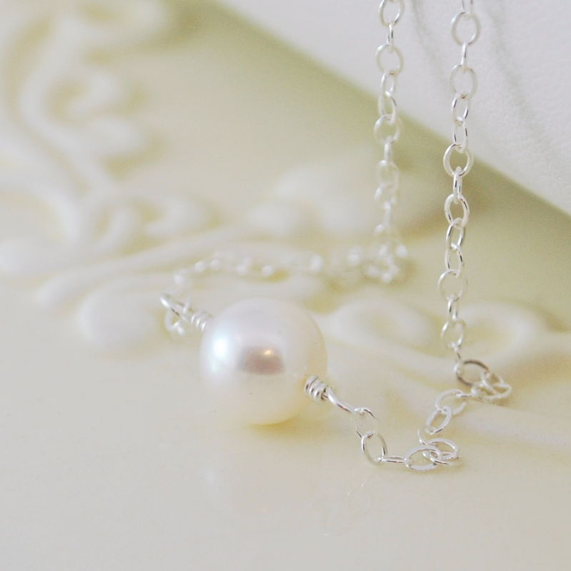 Simple Pearl Choker Necklace in Sterling Silver - product images  of