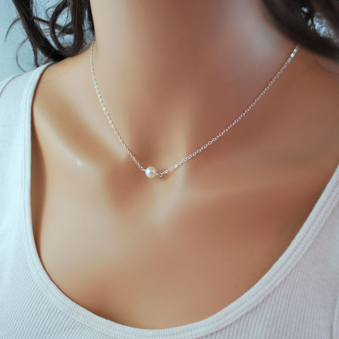Simple,Pearl,Choker,Necklace,in,Sterling,Silver,pearl choker, floating necklace, sterling silver, simple, minimalist, freshwater pearl, genuine, real, jewelry