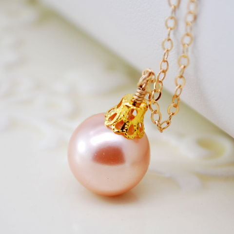 Christmas,Ornament,Necklace,in,Peach,and,Gold,Christmas ball, ornament, necklace, glass pearl, peach, gold filled, holiday jewelry
