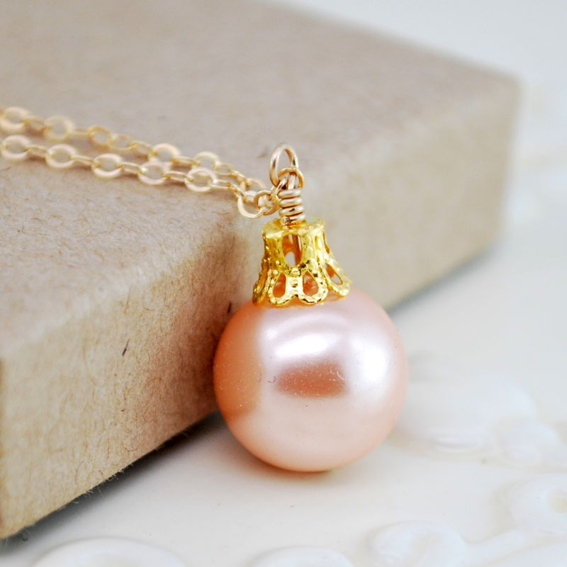 Christmas Ornament Necklace in Peach and Gold - product images  of