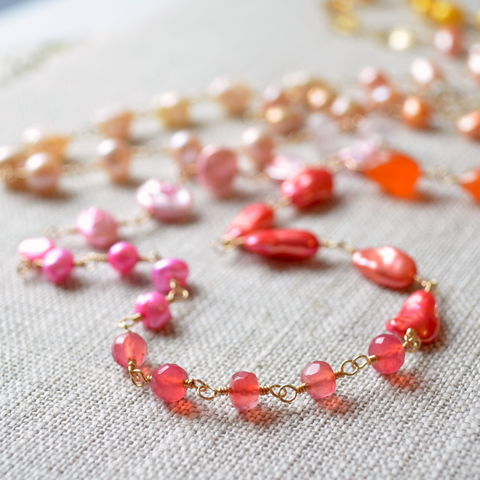 Long,Gemstone,and,Pearl,Necklace,,Coral,Pink,,Orange,Yellow,,Gold,Jewelry,necklace, freshwater pearl, gemstone, jewelry, gold