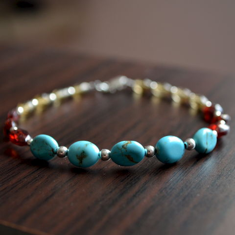 Turquoise,Garnet,and,Beer,Quartz,Beaded,Bracelet,jewelry, bracelet, turquoise, garnet, quartz, sterling, silver, gemstone