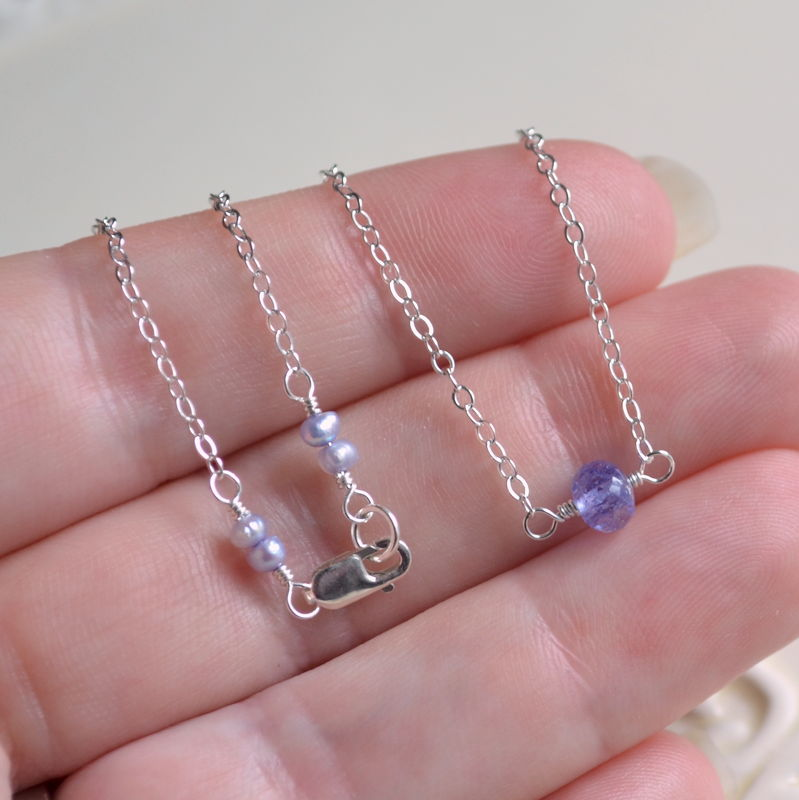 Simple Tanzanite Choker Necklace in Sterling Silver - product images  of