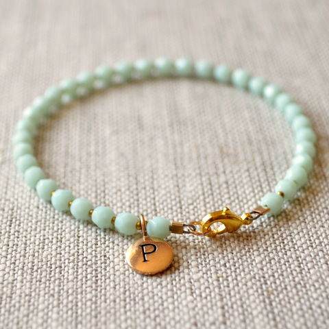Mint,Green,Glass,Bracelet,with,Initial,Charm,jewelry, bracelet, mint green, glass, gold, bronze, initial, personalized, bridesmaid, wedding