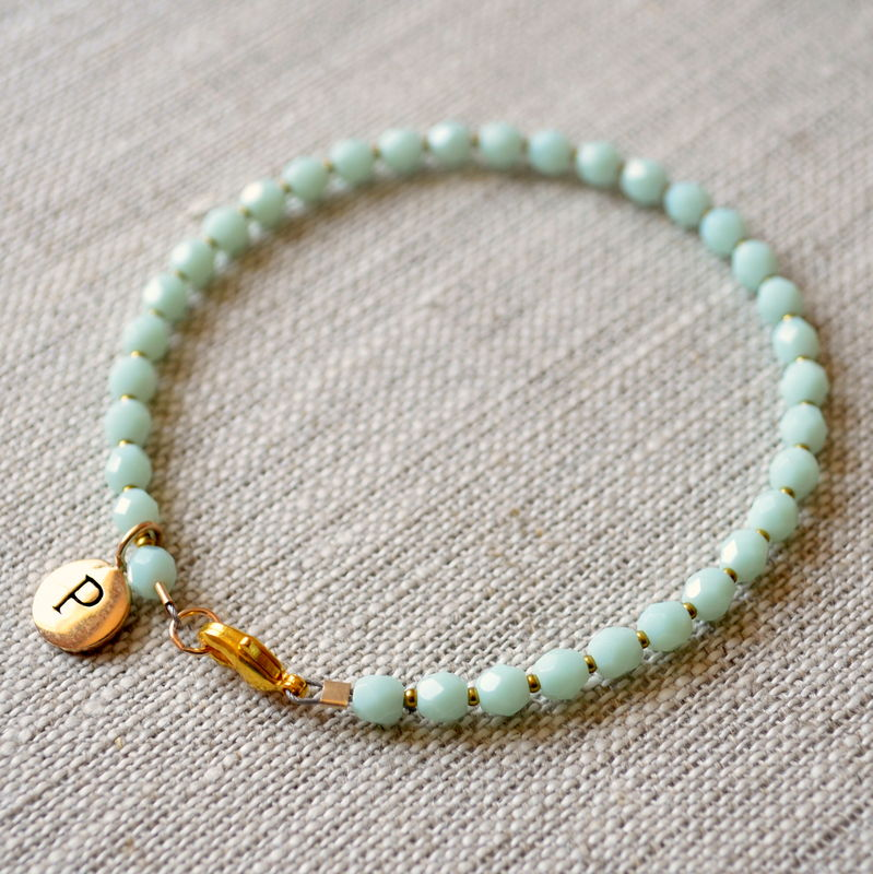 Mint Green Glass Bracelet with Initial Charm - product images  of