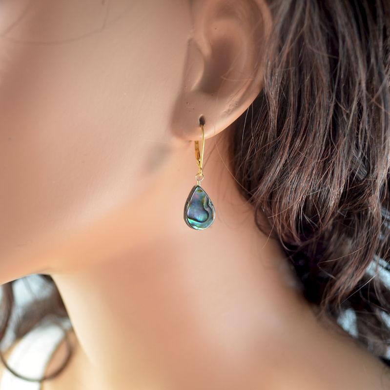 Abalone Dangle Earrings in Gold Vermeil - product images  of