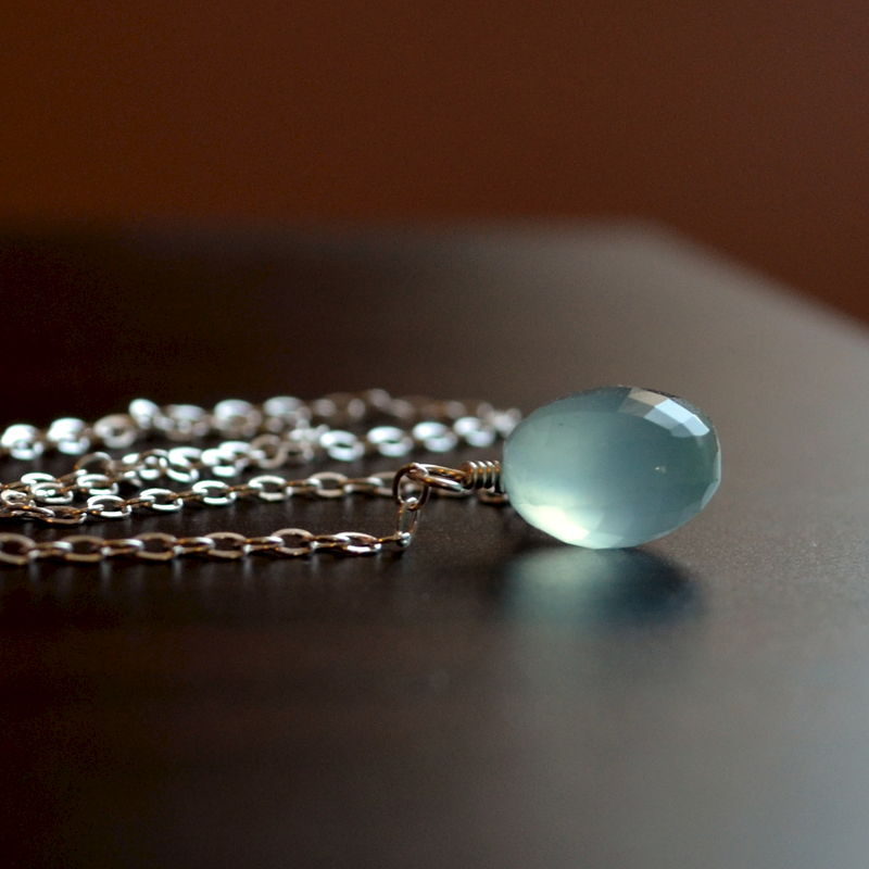 Aqua Chalcedony Choker Necklace in Sterling Silver - product images  of