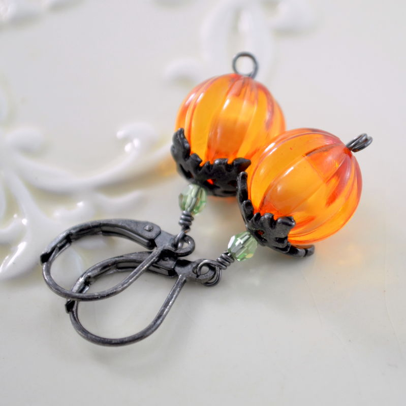 Bright Orange Pumpkin Earrings on Black Gunmetal Levers - product images  of