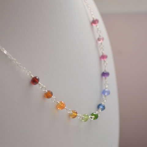 Rainbow,Necklace,for,Girls,in,Sterling,Silver,jewelry, necklace, child, kid, girl, tween, rainbow, gemstone, sterling silver