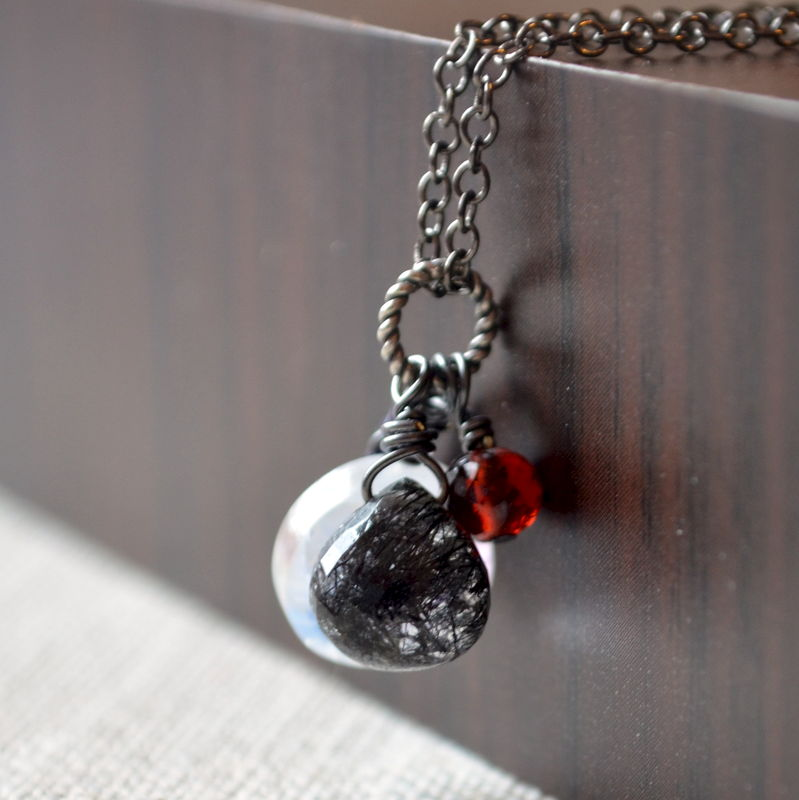 Halloween Necklace with Rainbow Moonstone, Amethyst, Garnet and Black Rutilated Quartz on Gunmetal Chain - product images  of