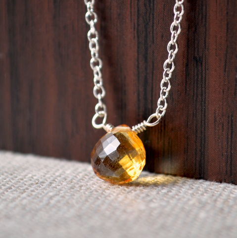Simple,Citrine,Choker,Necklace,on,Silver,Plated,Chain,jewelry, necklace, citrine, gemstone, silver plated, aaa, real, genuine, simple, choker, November birthstone