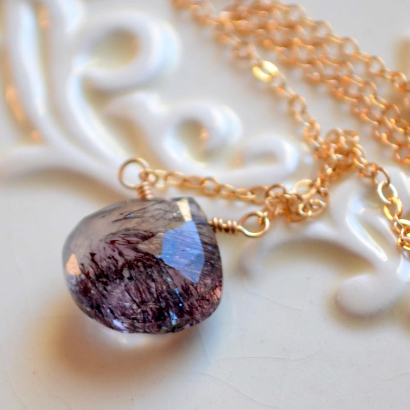 Moss Amethyst Necklace in Gold - product images  of