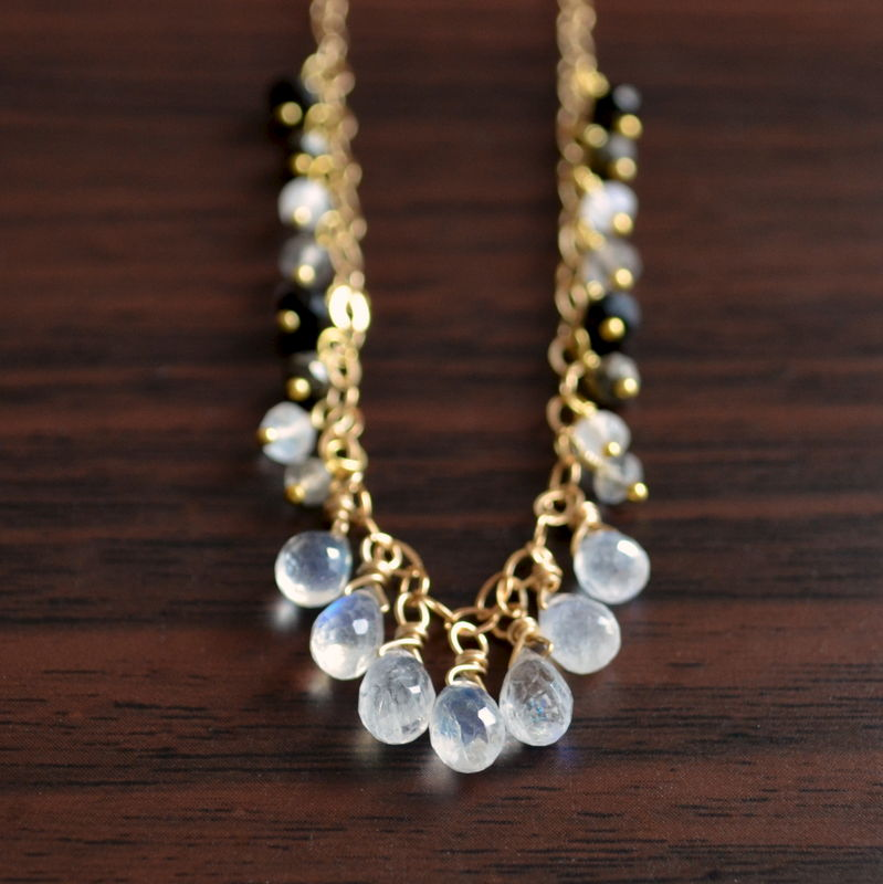 Rainbow Moonstone Necklace with Pyrite, Labradorite and Black Onyx in Gold - product images  of