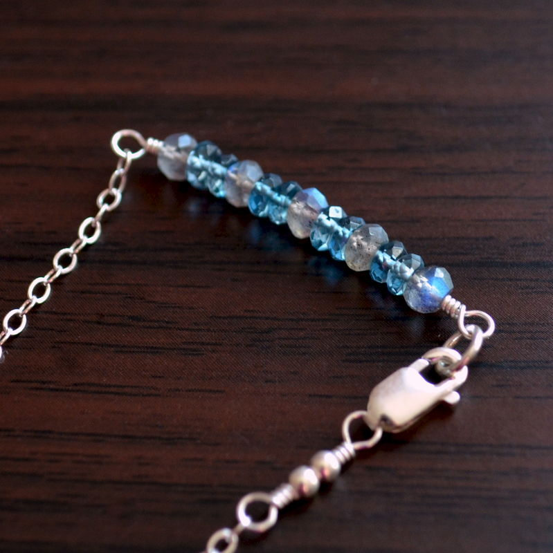 Delicate Labradorite and London Blue Topaz Bracelet in Sterling Silver - product images  of