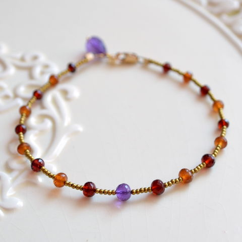 Beaded,Garnet,,Spessartite,Garnet,and,Amethyst,Bracelet,jewelry, bracelet, beaded, gemstone, garnet, spessartite, amethyst, genuine, Autumn, Fall, gold, boho, bohemian