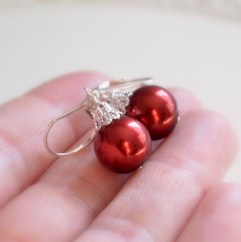 Red,Christmas,Ball,Earrings,in,Sterling,Silver,jewelry, earrings, glass, pearl, red, Christmas, holiday, fun, whimsical, sterling silver