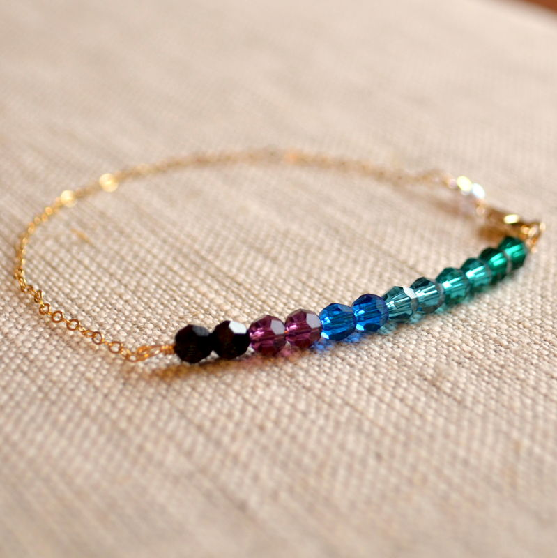 Peacock Crystal Bracelet in Gold - product images  of