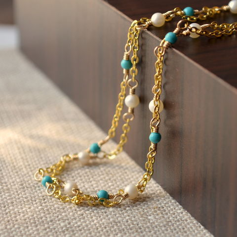 Genuine,Turquoise,Anklet,with,Freshwater,Pearls,in,Gold,jewelry, anklet, ankle bracelet, turquoise, freshwater pearl, genuine, double strand, two strand, gold, silver, delicate, dainty