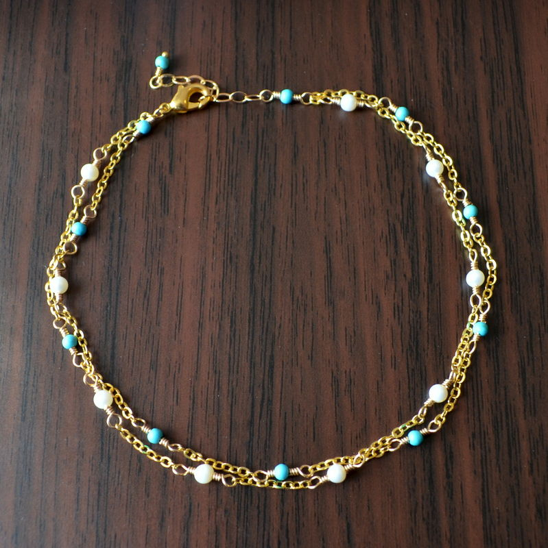 Genuine Turquoise Anklet with Freshwater Pearls in Gold - product images  of