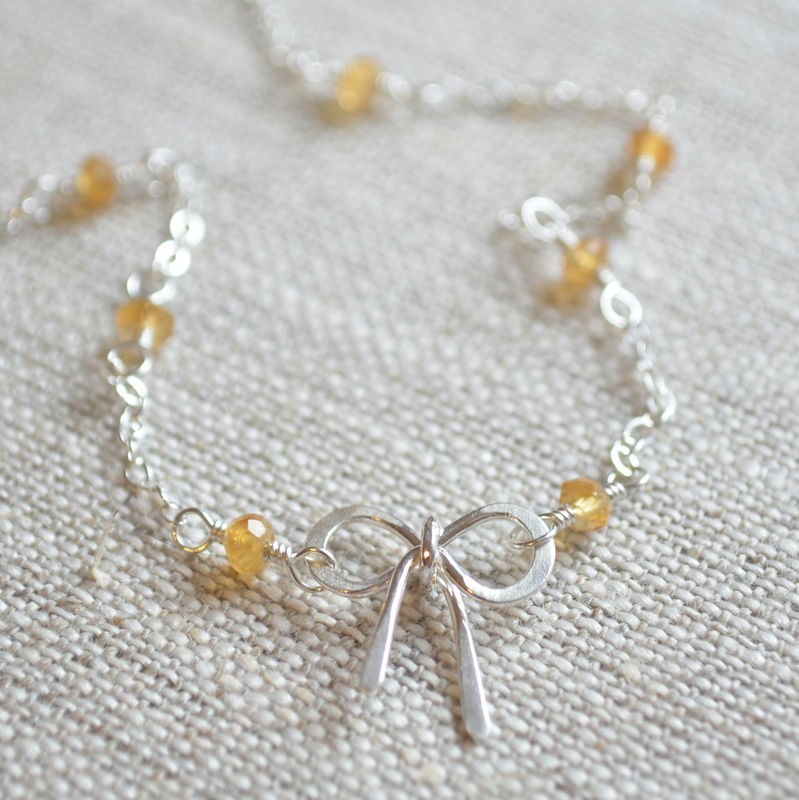 Bow Necklace with Citrine in Sterling Silver - product images  of