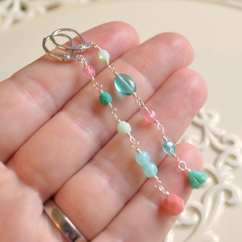 Mismatched Coral Pink and Aqua Earrings in Silver Plate - product images  of