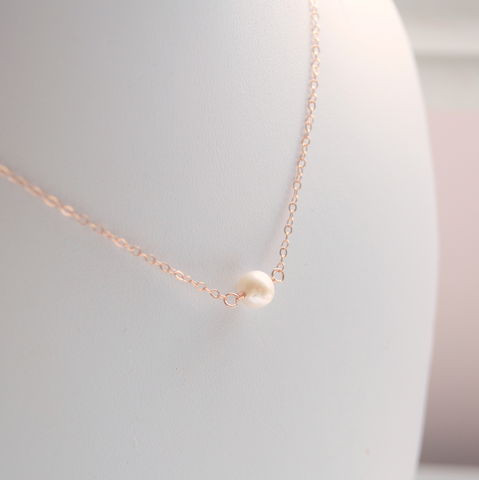White,Pearl,Choker,Necklace,in,Rose,Gold,jewelry, necklace, choker, rose gold, pearl, freshwater, real, genuine, simple, delicate, dainty, minimalist