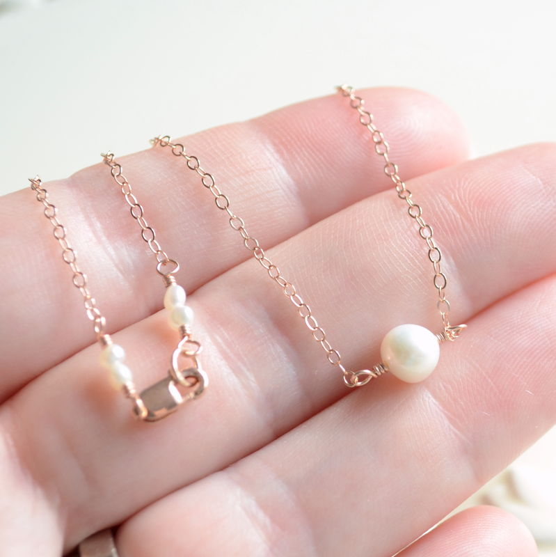 White Pearl Choker Necklace in Rose Gold  - product images  of
