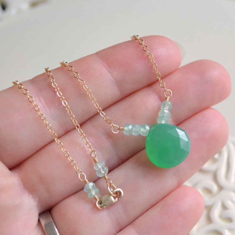 Green Chalcedony Necklace in Gold - product images  of