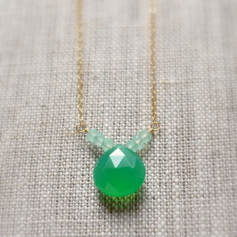 Green,Chalcedony,Necklace,in,Gold,jewelry, necklace, chalcedony, gemstone, kelly green, aqua, gold, chevron, summer