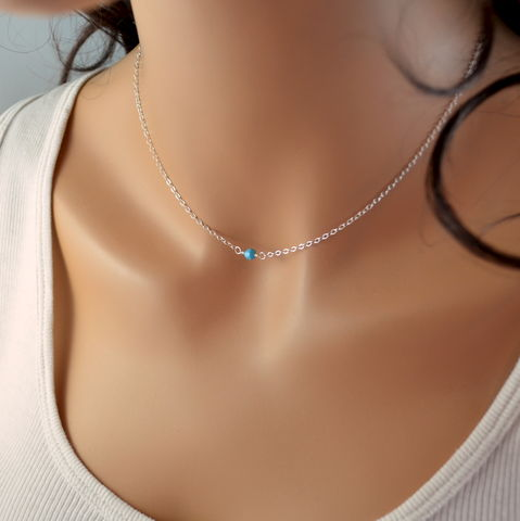 Choker,Necklace,with,Turquoise,Crystal,in,Sterling,Silver,jewelry, necklace, choker, turquoise, crystal, Swarovski, simple, dainty, delicate, minimalist, sterling silver