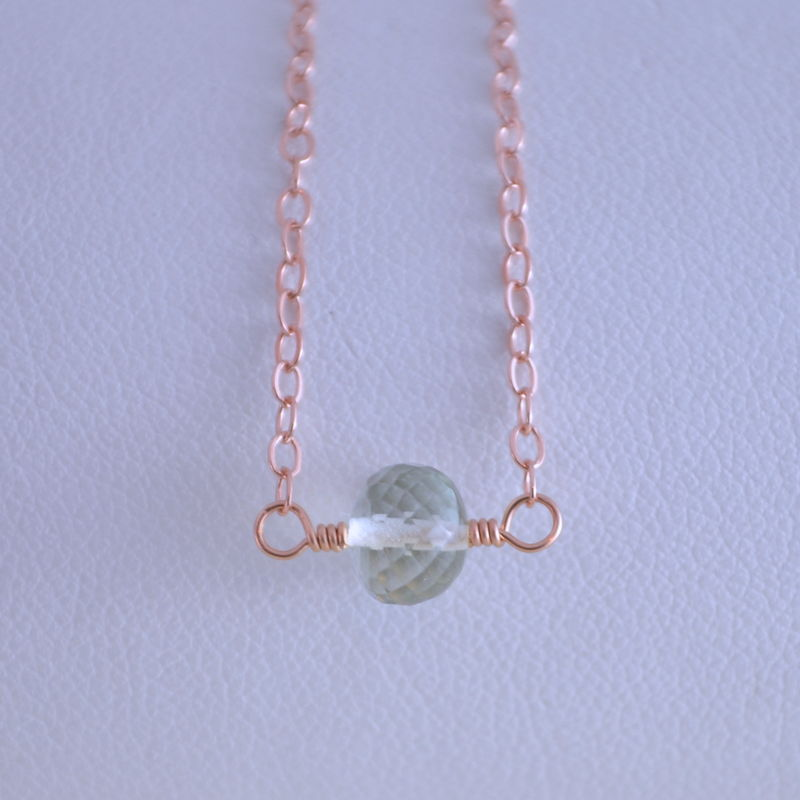 Simple Green Amethyst Choker Necklace in Rose Gold - product images  of
