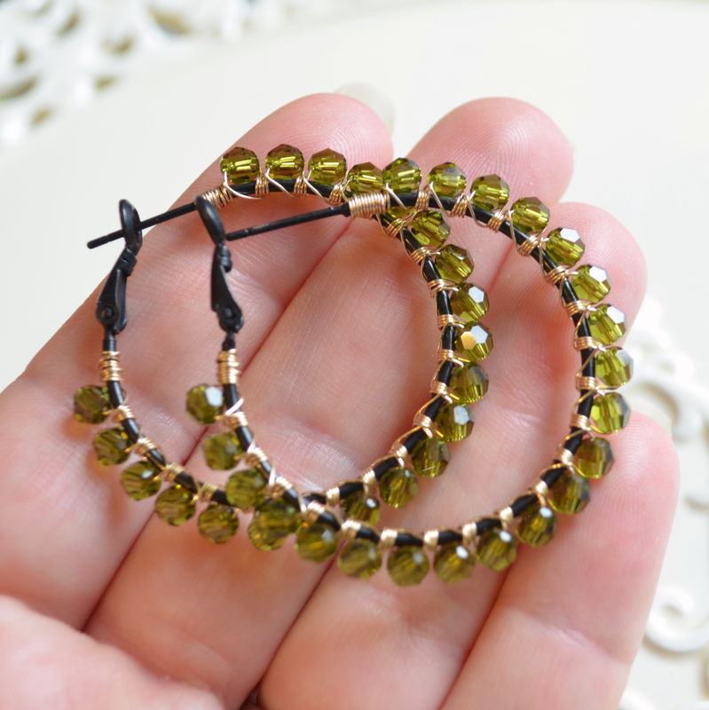 Olive Green Crystal Hoop Earrings in Black and Gold - product images  of