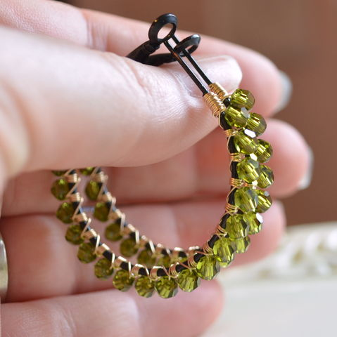 Olive,Green,Crystal,Hoop,Earrings,in,Black,and,Gold,jewelry, earrings, hoops, Swarovski, crystal, olive green, olivine, mixed metal, black, gold