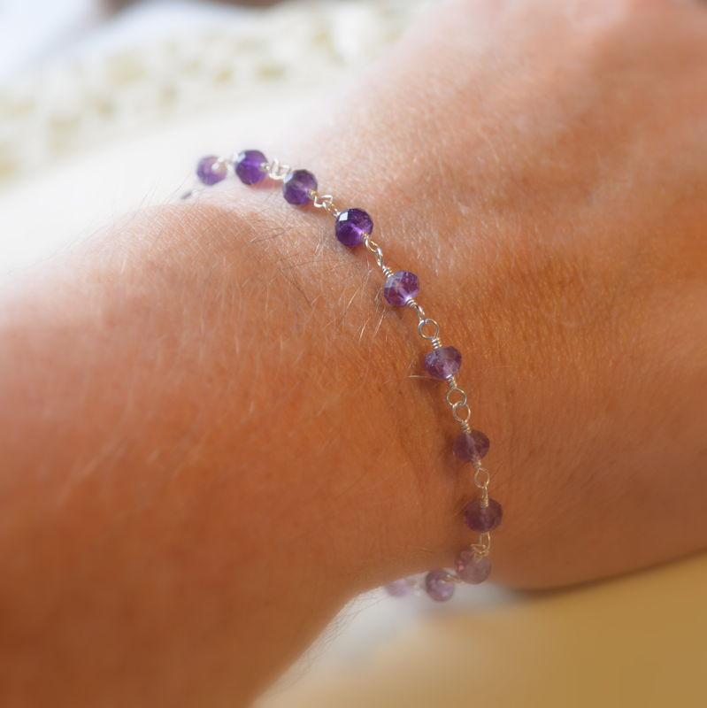 Shaded Amethyst Bracelet in Sterling Silver with Jasmine Flower - product images  of