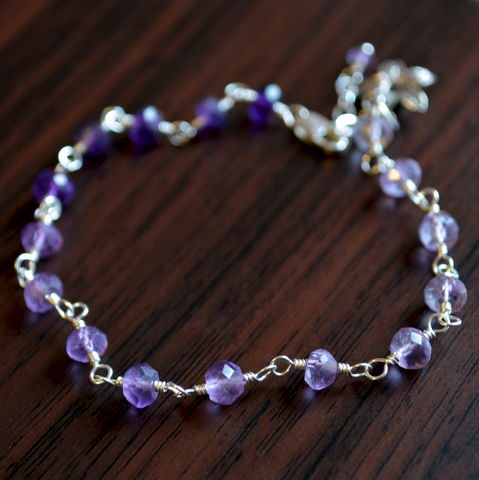 Shaded,Amethyst,Bracelet,in,Sterling,Silver,with,Jasmine,Flower,jewelry, bracelet, amethyst, genuine, gemstone, purple, sterling silver, flower