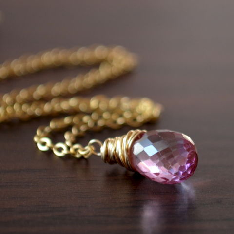 Pink,Topaz,Teardrop,Necklace,in,Gold,jewelry, necklace, pink topaz, gemstone, genuine, orchid, gold filled