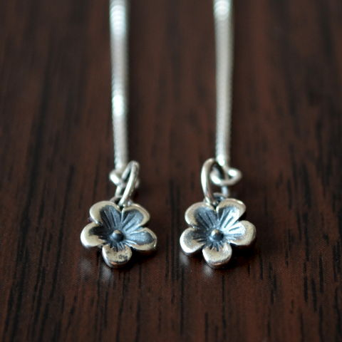 Cherry,Blossom,Threader,Earrings,in,Sterling,Silver,jewelry, sterling silver, earrings, cherry blossom, flower, floral, threaders, delicate