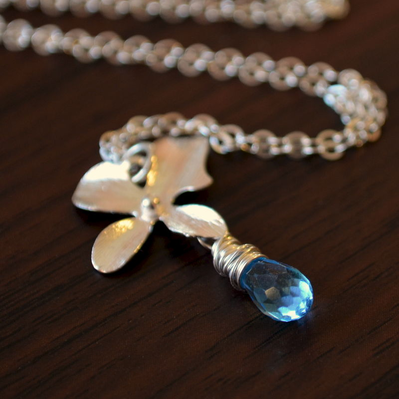 Swiss Blue Topaz Necklace with Sterling Silver Orchid - product images  of