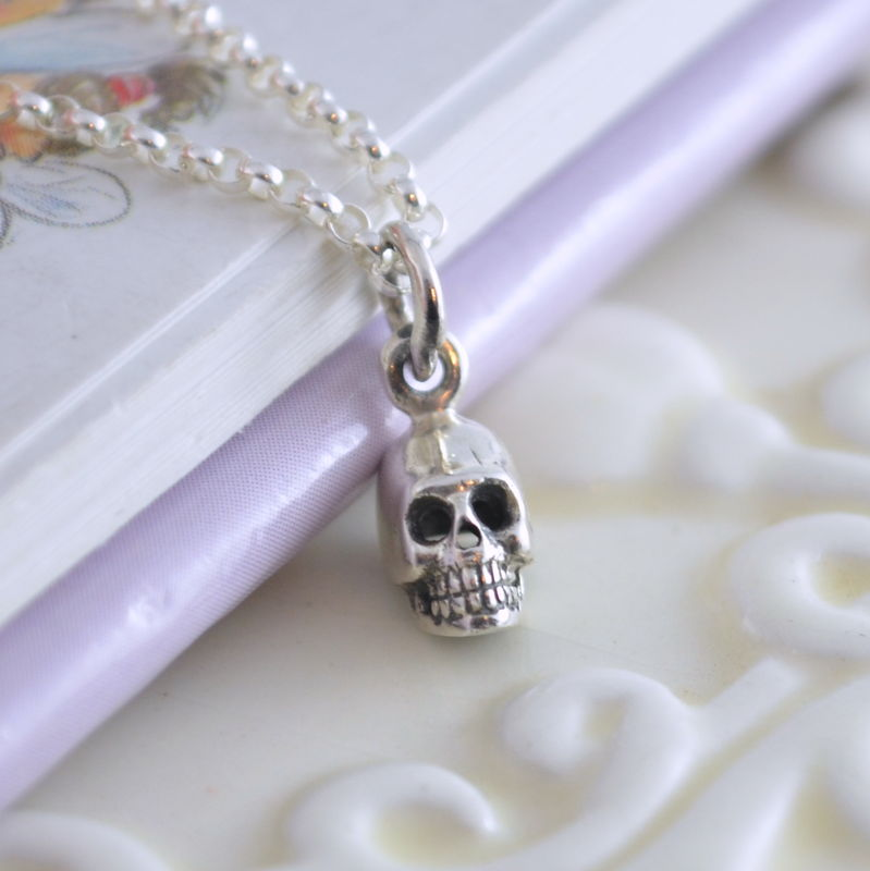 Boys Skull Necklace in Sterling Silver - product images  of
