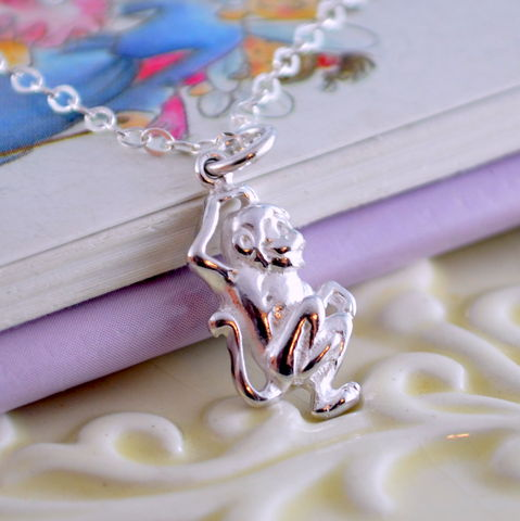 Girls,Monkey,Necklace,in,Sterling,Silver,jewelry, necklace, sterling silver, monkey, girl, child, children, animal