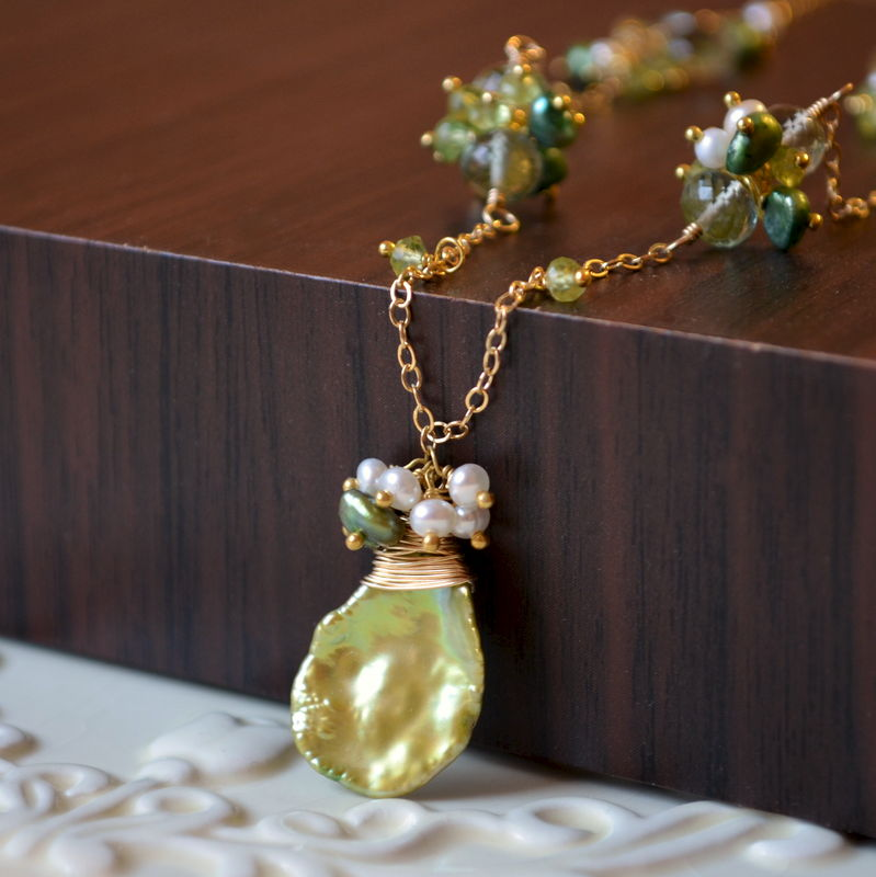 Lily of the Valley Necklace with Green Amethyst and Freshwater Pearls - product images  of