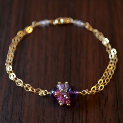 Cluster,Bracelet,with,Amethyst,and,Pink,Tourmaline,in,Gold,jewelry, bracelet, gold, amethyst, gemstone, cluster, pink tourmaline, iolite