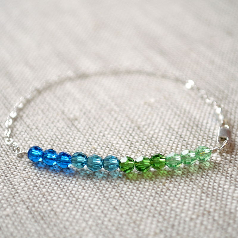 Blue and Green Crystal Row Bracelet in Sterling Silver - product images  of